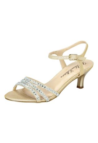 David's Bridal Beige Heeled Sandals (Low Heel Strappy Sandals with Crystals)