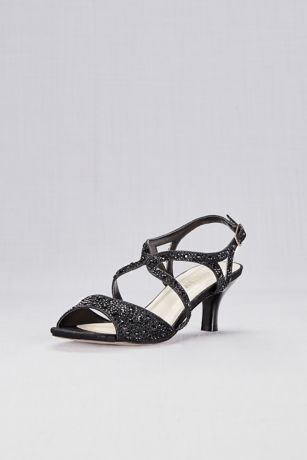 Blossom Beige;Black Heeled Sandals (Strappy Heels with Iridescent Gems)