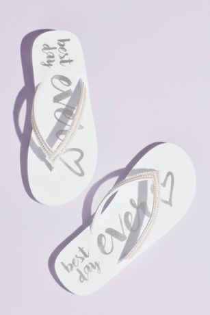 White Flip Flops (Best Day Ever Rhinestone Trim Flip Flops)