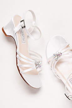 Touch Ups White Flowergirl Shoes (Girls Dyeable Betsy Sandals with Crystal Ornament)