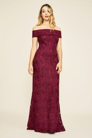 Long Sheath Off the Shoulder Dress - Tadashi Shoji