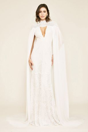 Long Sheath Wedding Dress - Tadashi Shoji
