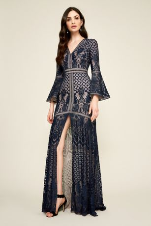 Long Mermaid/ Trumpet Long Sleeves Dress - Tadashi Shoji