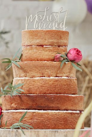 Just Married Script Wooden Cake Topper
