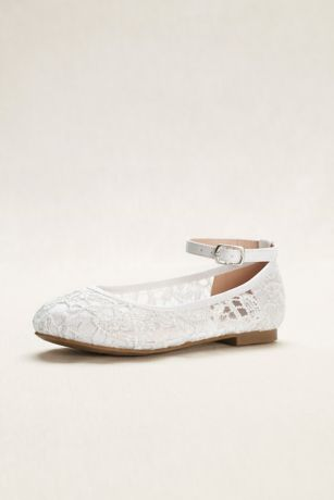 Blossom White Flowergirl Shoes (Flower Girl Crochet Lace Ballet Flats)