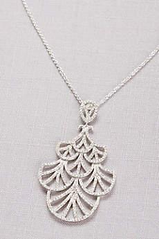 Mini Crystal Fan Pendant Necklace