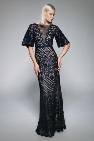 Long Mermaid/ Trumpet Short Sleeves Dress - Tadashi Shoji