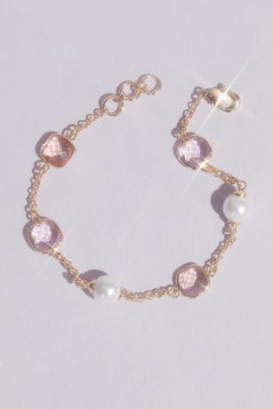Crystal and Pearl Chain Bracelet
