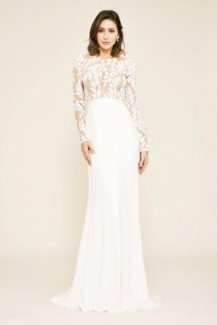 Long A-Line Wedding Dress - Tadashi Shoji