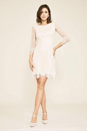 Short A-Line Wedding Dress - Tadashi Shoji
