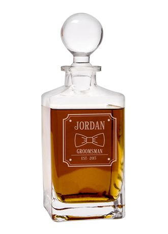 Personalized Bow Tie Square Whiskey Decanter