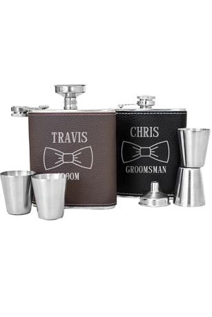 Personalized Bowtie Leather Wrapped Flask Set
