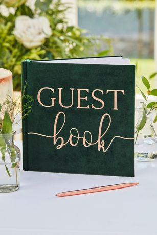Green Velvet Bronze Foiled Wedding Guest Book