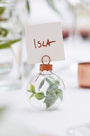 Faux Eucalyptus Bauble Place Card Holders