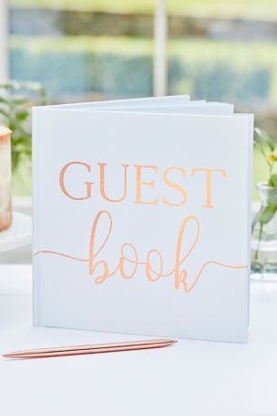 Rose Gold Foil Script Guest Book