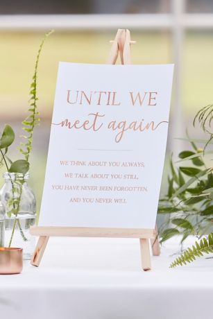 Rose Gold Script Memorial Sign and Easel