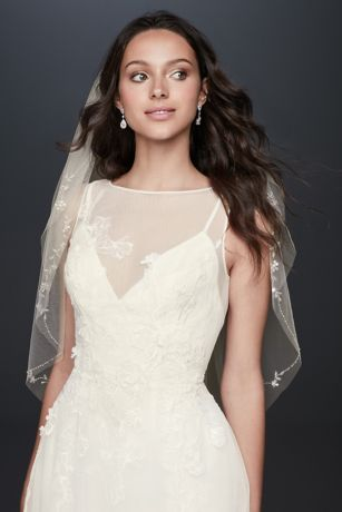 Floral Embroidered Raw-Edge Mid-Length Veil