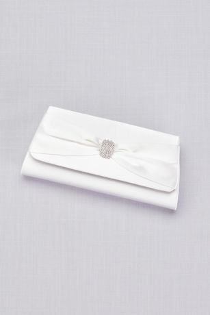Dyeable Satin Clutch with Rhinestone Bow