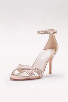 Crystal-Studded Crisscross Mid-Heel Sandals