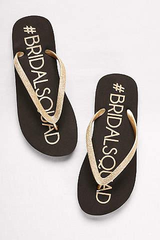 David S Bridal Black Flip Flops Squad