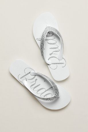 David's Bridal White Flip Flops (Crystal Bride Flip Flops)