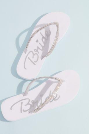 DB Studio White Flip Flops (Crystal Strap Bride Flip Flops)