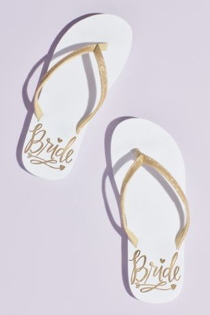 David's Bridal Yellow Flip Flops (Bride Crystal Flip Flops)
