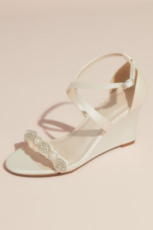 Pave Crystal and Pearl Satin Strappy Wedge Sandals