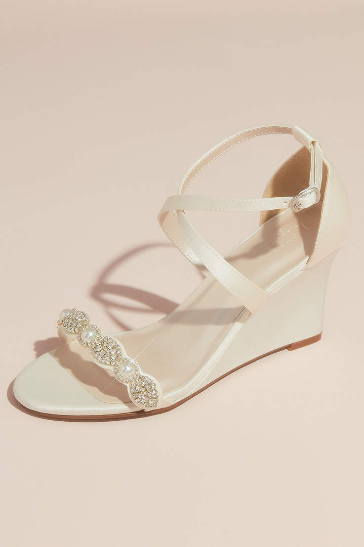Round Toe Satin High Heel Mint Evening Prom Wedding Shoes With Rhinestone Bow Back