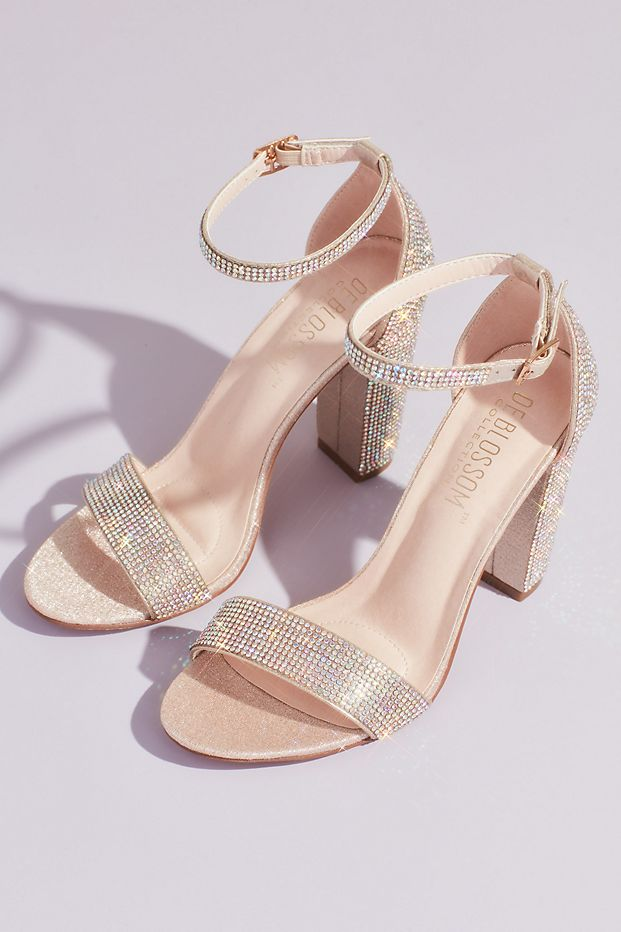Crystal Block Heel Sandals with Shimmering Accents