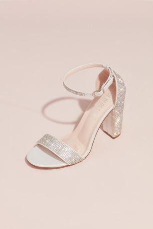 Blossom Beige;White Heeled Sandals (Crystal Block Heel Sandals with Shimmering Accents)