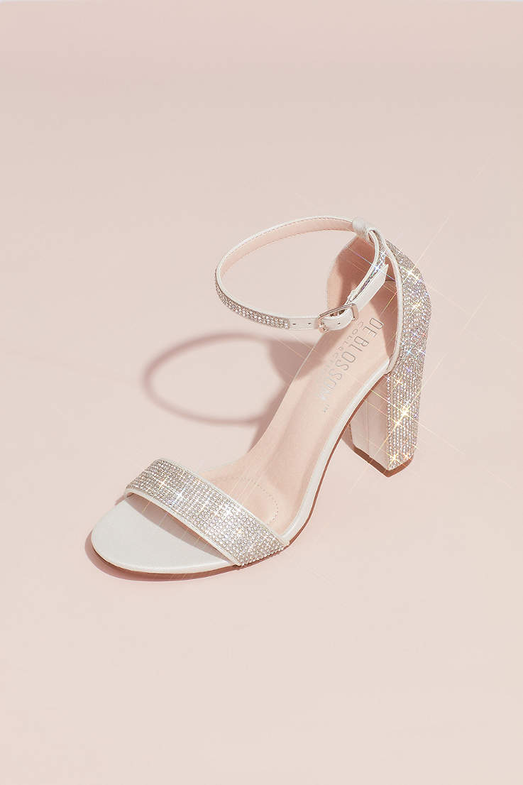 b7149bed74d3e5 Blossom White Heeled Sandals (Crystal Block Heel Sandals with Shimmering  Accents)