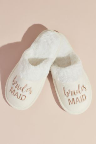 David's Bridal Pink Slippers (Fuzzy Bridesmaids Slide Slippers)