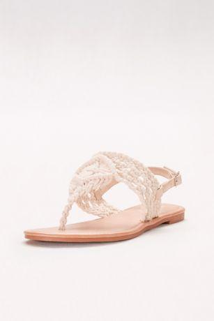 Macrame-Weave Slingback Sandals