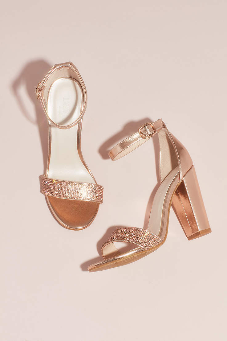 David s Bridal Grey Pink Heeled Sandals (Crystal-Strap Metallic Block Heel  Sandals)