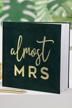 Almost Mrs Gold Foil Velvet Guest Book