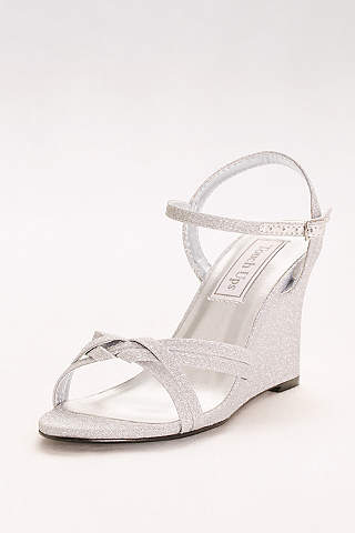 Touch Ups Grey (Woven Strap Glitter Wedges)