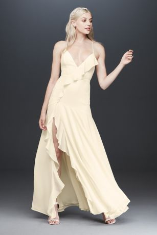 Long Sheath Spaghetti Strap Dress - Fame and Partners x David's Bridal