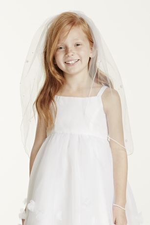 "Child""s Veil with Pearls and Flowers"