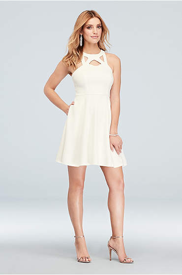 High-Neck Cutout Scuba Crepe Short Skater Dress