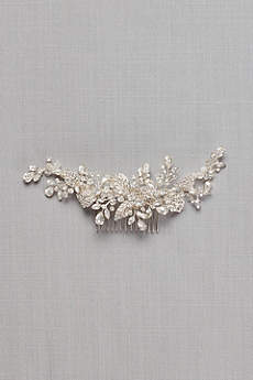 Pave Crystal Flower Hair Comb