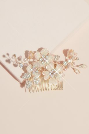 Pearl Crystal and Bead Gilded Flower Hair Comb