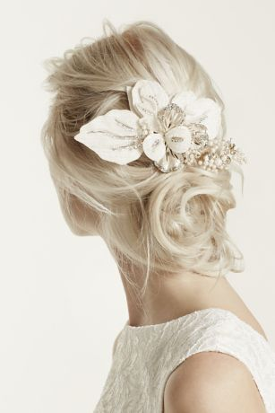 Floral Headpiece with Pearls and Crystals