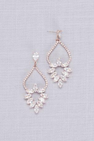 Cubic Zirconia Marquise Wreath Chandelier Earrings