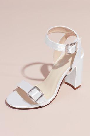 Benjamin Walk White Sandals (Dyeable Block Heel Sandals with Oversized Buckles)