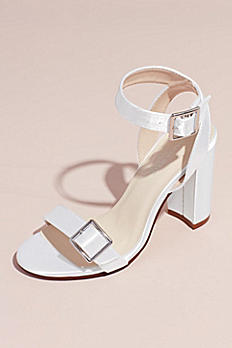 Dyeable Block Heel Sandals with Oversized Buckles CALISTAWHITE