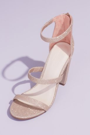 David's Bridal Beige;Grey;Ivory;Pink Heeled Sandals (Triple Strap Block Heel Glitter Sandals)