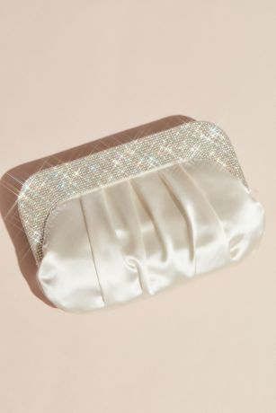Pleated Satin Clutch with Crystal Handle
