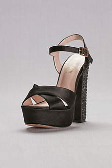 Blossom Black (Platform Sandals with Embellished Chunky Heel)