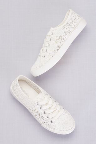 David's Bridal White Sneakers and Casual (Crochet Lace Sneakers)